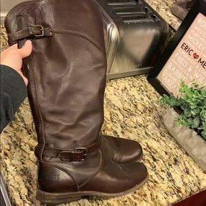 Frye Veronica boots, dark brown size 7.5 wide calf